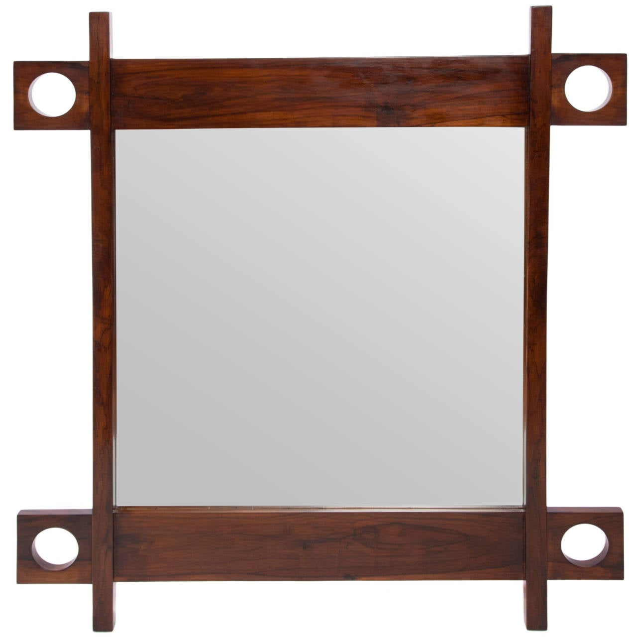 A Sergio Rodrigues 'Cuiaba' Wall Mirror with Jacaranda Wood Frame