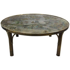 """Mid-Century Philip & Kelvin Laverne Round """"Tao"""" Coffee or Cocktail Table"""