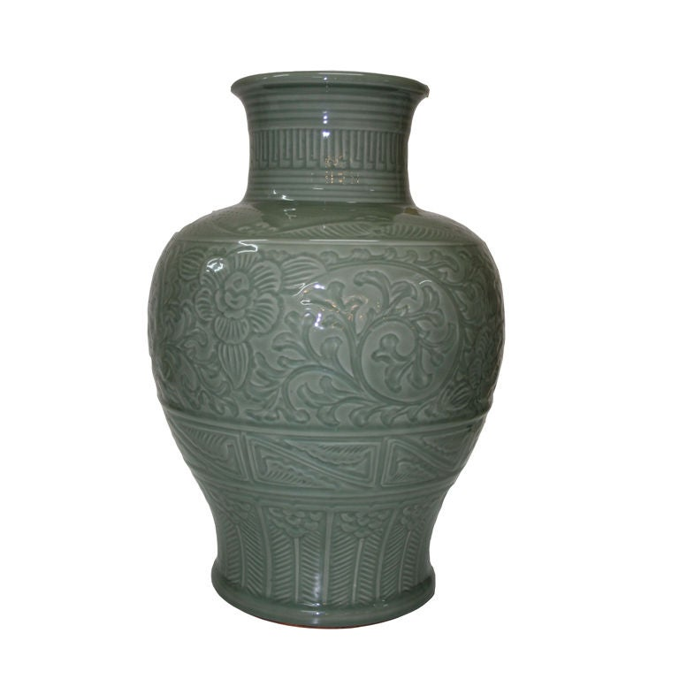 Monumental Japanese Celadon Vase For Sale at 1stdibs