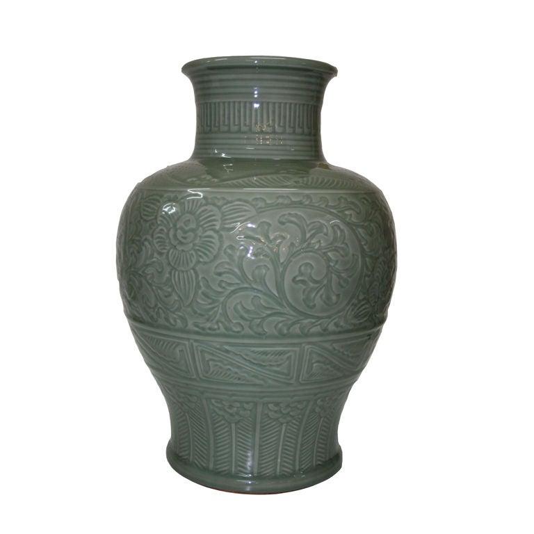 Monumental Japanese Celadon Vase For Sale at 1stdibs