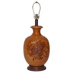 Midcentury Ceramic Table Lamp w/ Leaf Motif