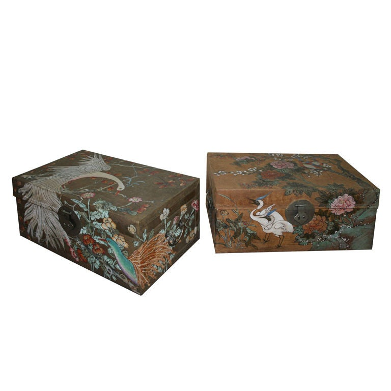 Pair of Chinese Painted Pigskin Trunks