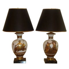 Pair of White Glass Urn Lamps