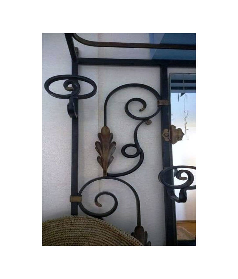 Wrought Iron Black And Gold Hall Tree Or Coat Rack And