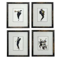 Midcentury Set of Four Framed Jazz Prints