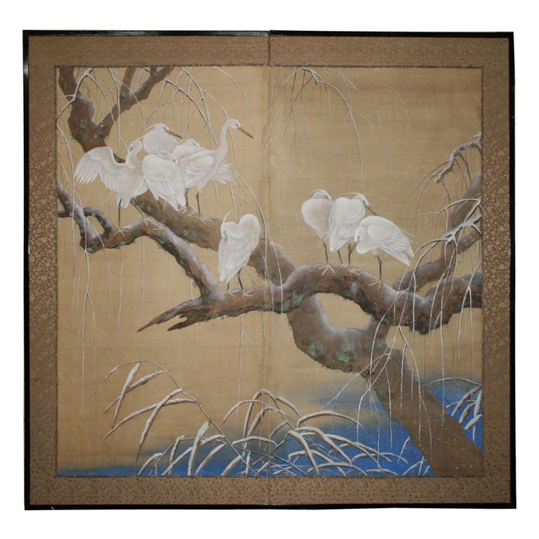 Japanese Two-Panel Screen For Sale