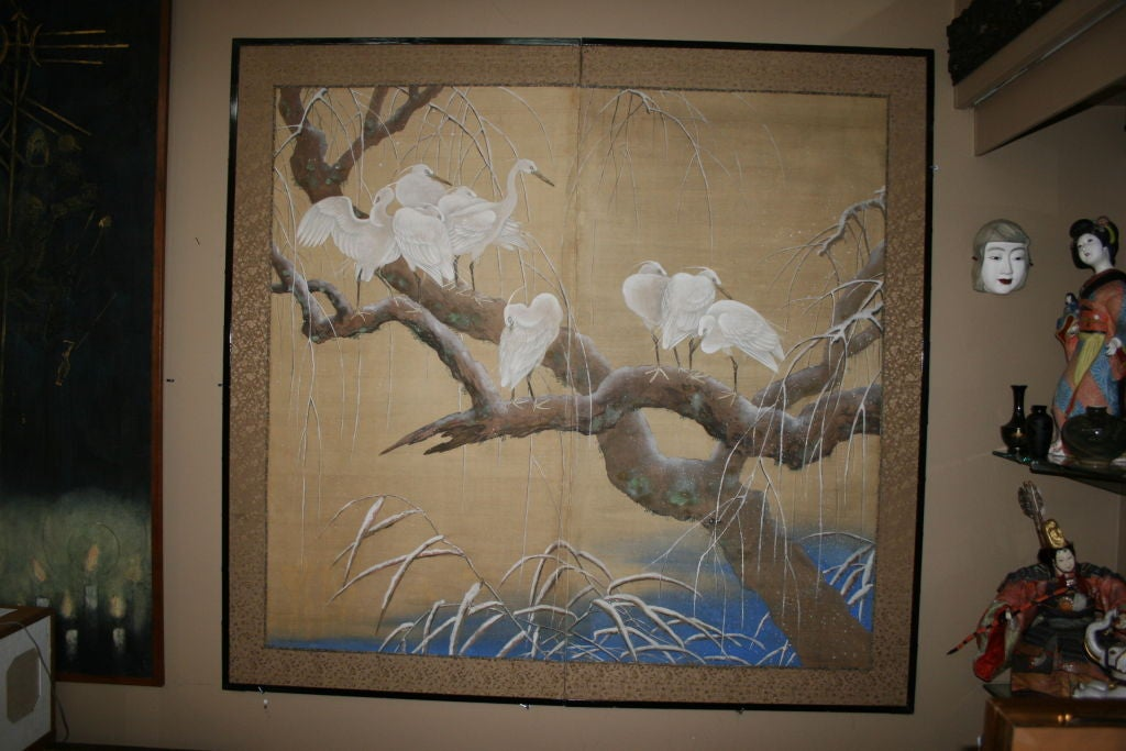 Edo Pariod Japanese two-panel screen depicting cranes on a willow branch.  3992