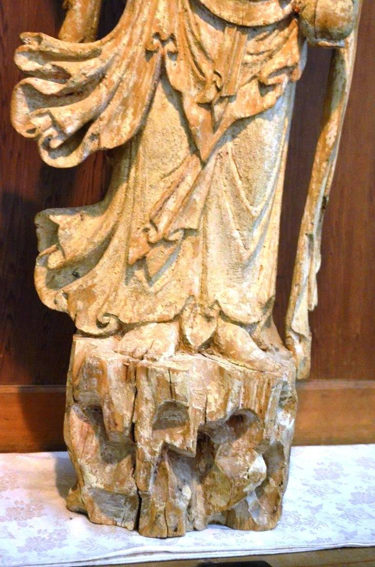 Chinese song tang dynasty carving of guanyin for sale at