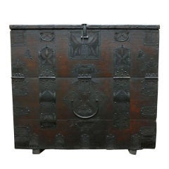 Antique North Korean Chest with Fine Lacelike Ironwork