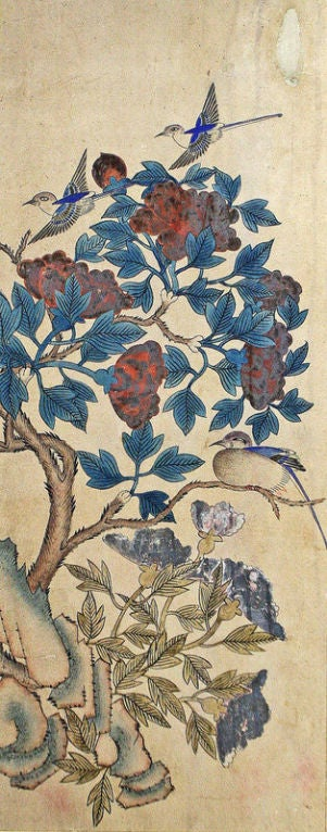 Set of Six Korean Traditional Bird and Flower Paintings image 4