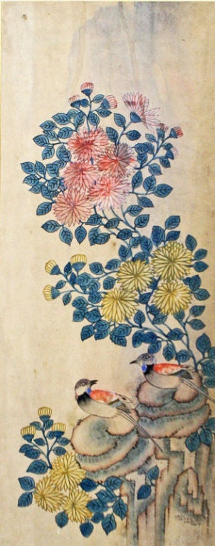 Set of Six Korean Traditional Bird and Flower Paintings 6