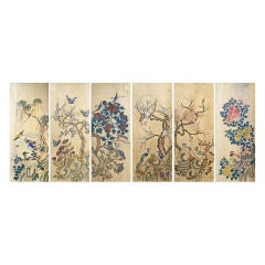 Set of Six Korean Traditional Bird and Flower Paintings