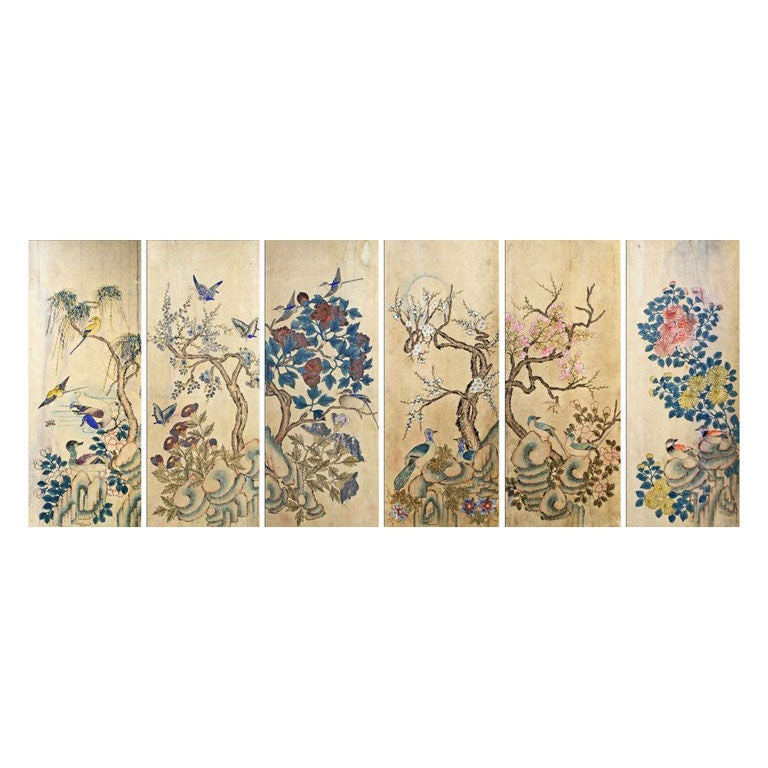 Set of Six Korean Traditional Bird and Flower Paintings 1