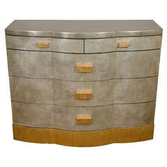 Midcentury Five-Drawer Dresser with a Silver Finish and Gilt Accents