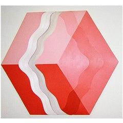 Midcentury Three-Dimensional Acrylic on Canvas by Shozo Nagano