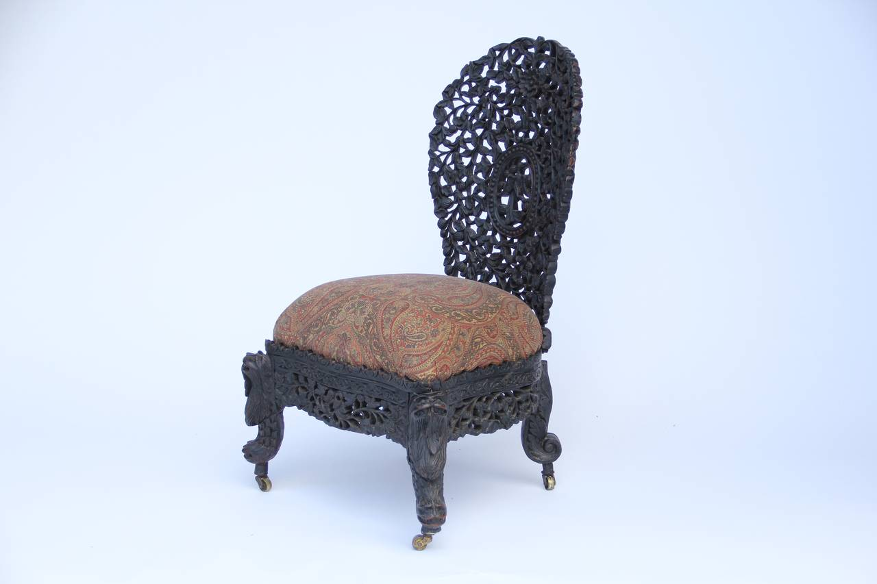 Antique hand carved anglo indian chair at 1stdibs for Hand carved asian furniture
