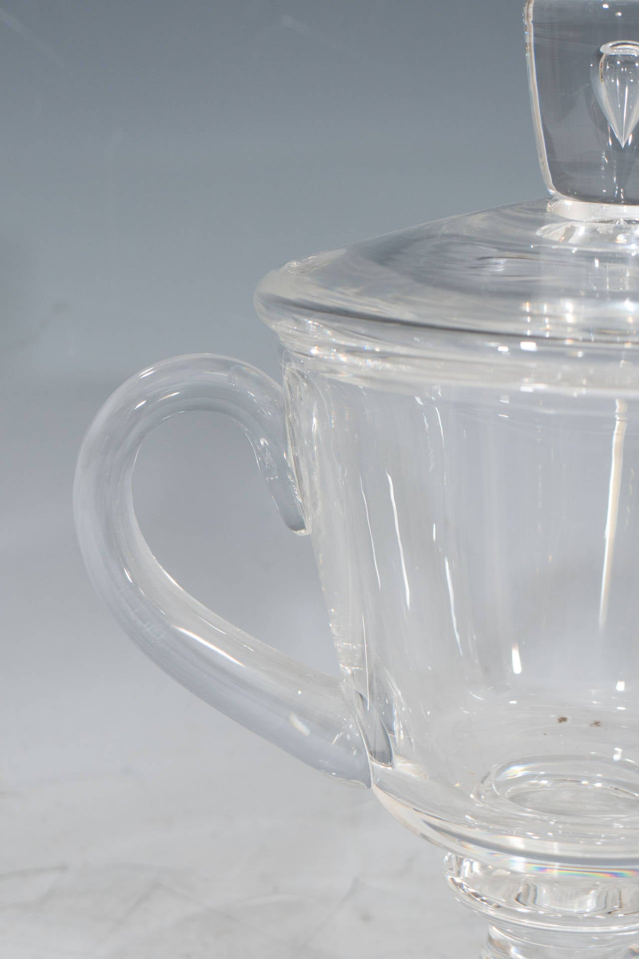American 1930s Steuben Signed Glass Covered Candy Dish or Urn For Sale