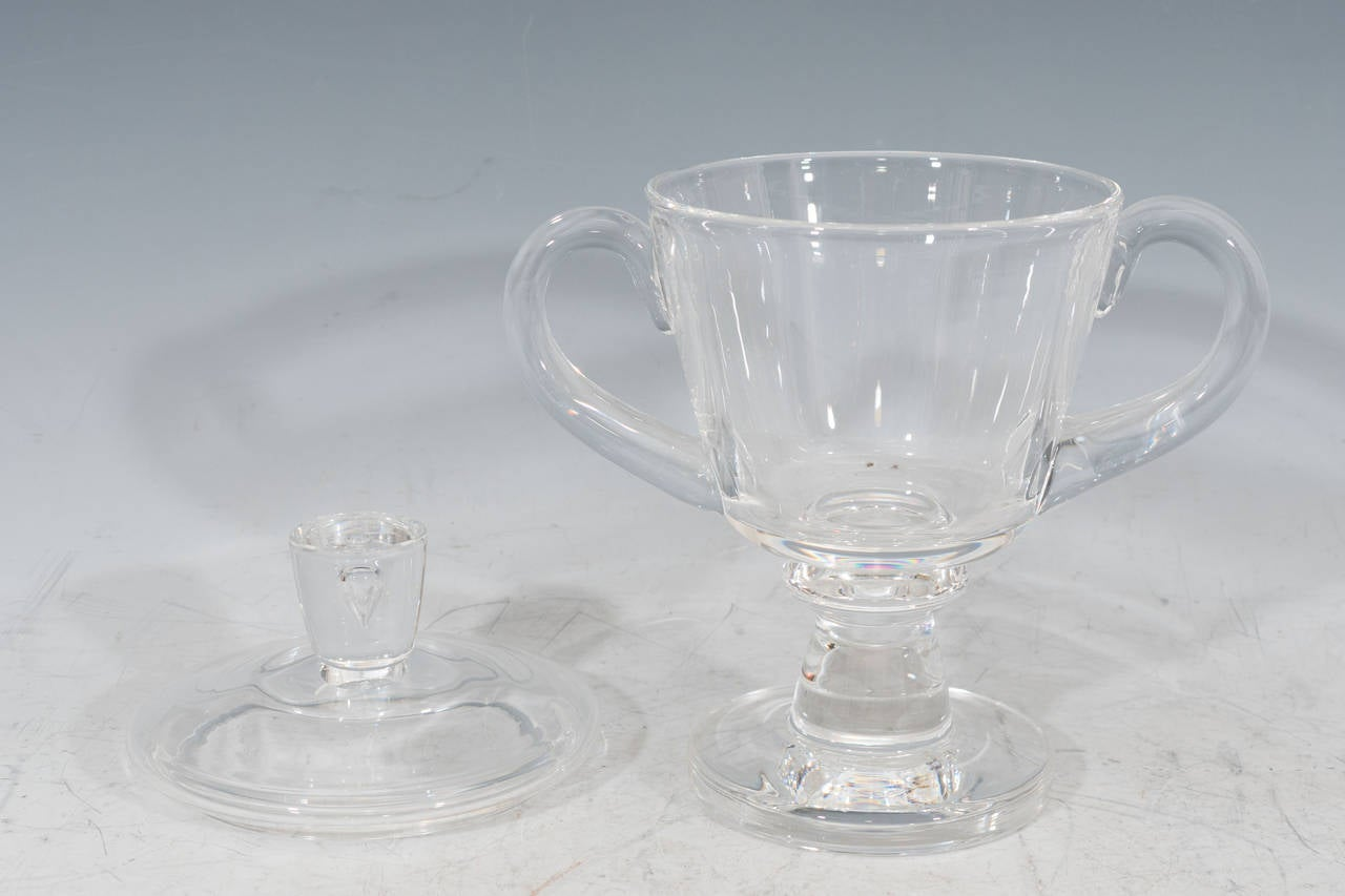 1930s Steuben Signed Glass Covered Candy Dish or Urn In Good Condition For Sale In New York, NY