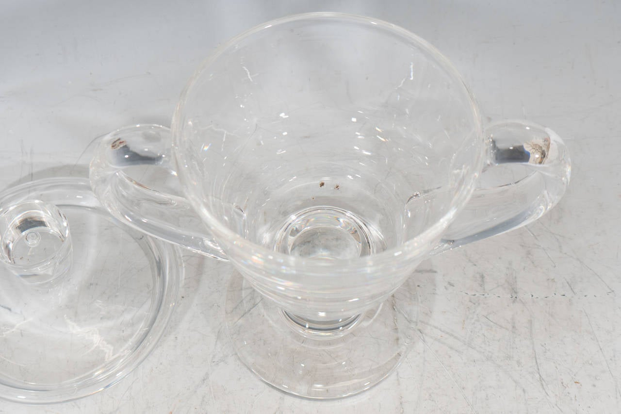 20th Century 1930s Steuben Signed Glass Covered Candy Dish or Urn For Sale