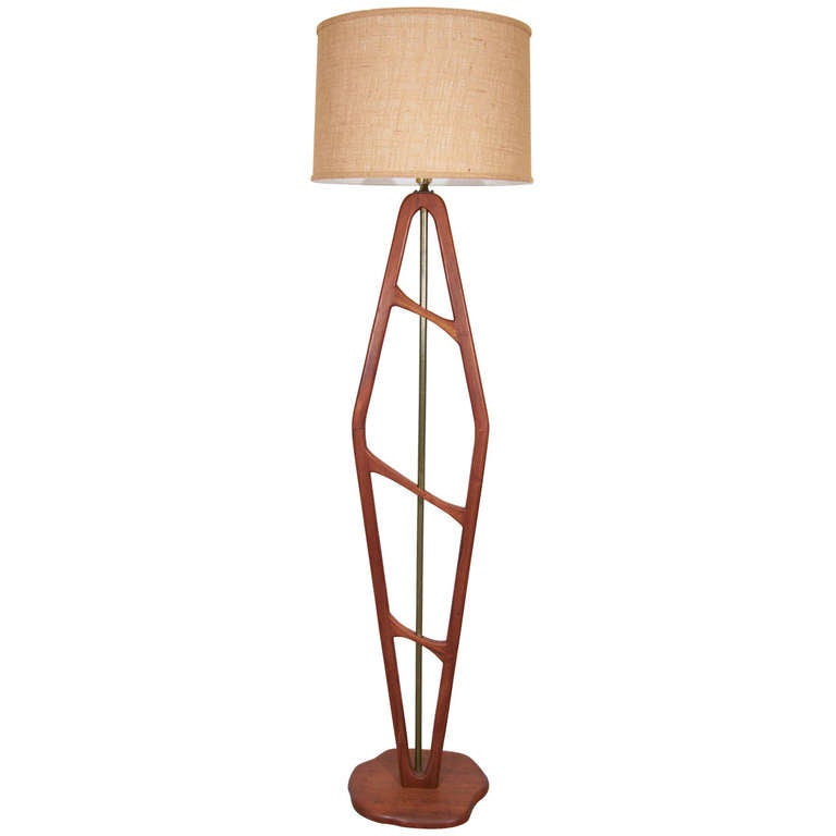 Mid Century Teak Floor Lamp with Brass Detailing