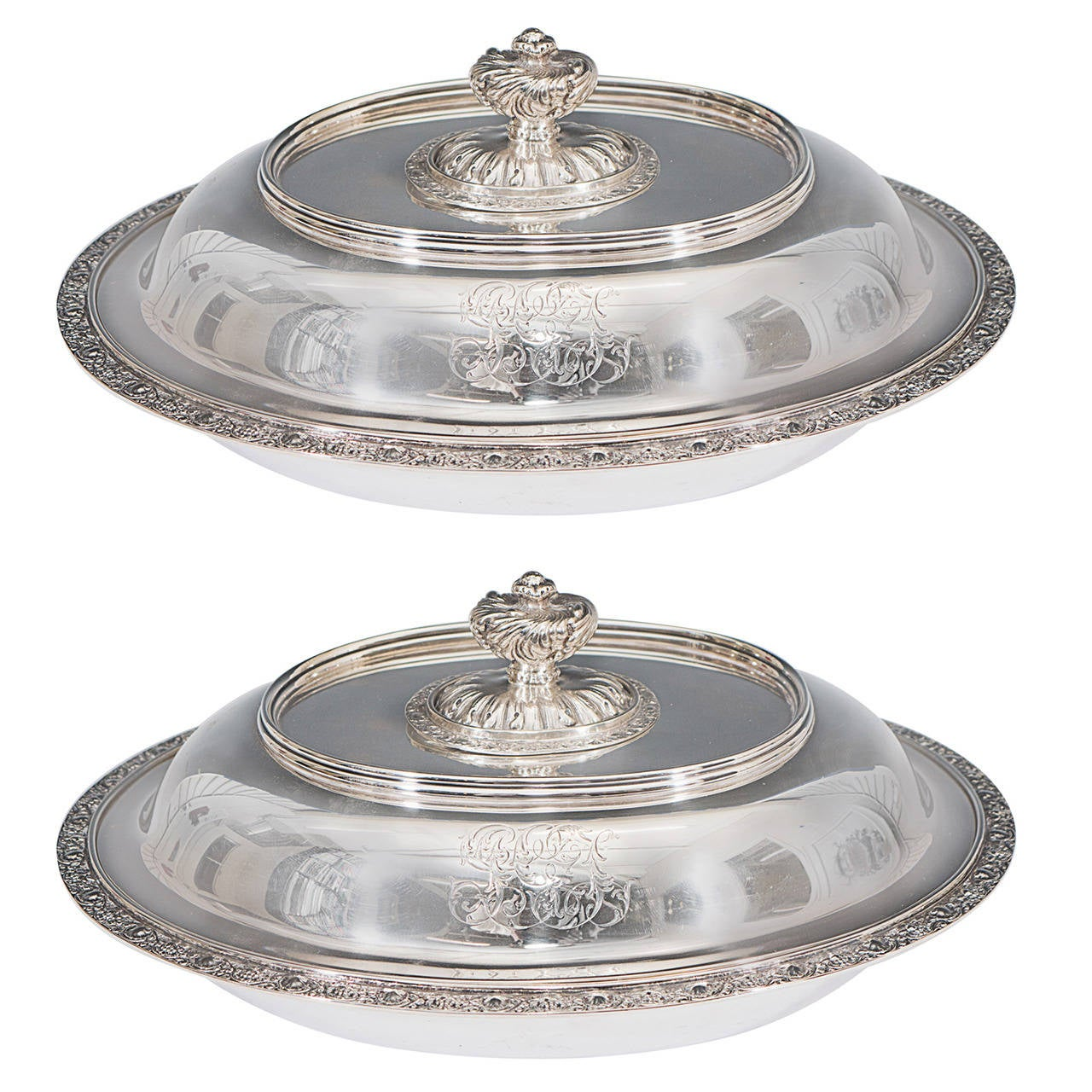 Pair of Tiffany & Co. Makers Sterling Silver Covered Vegetable Dishes