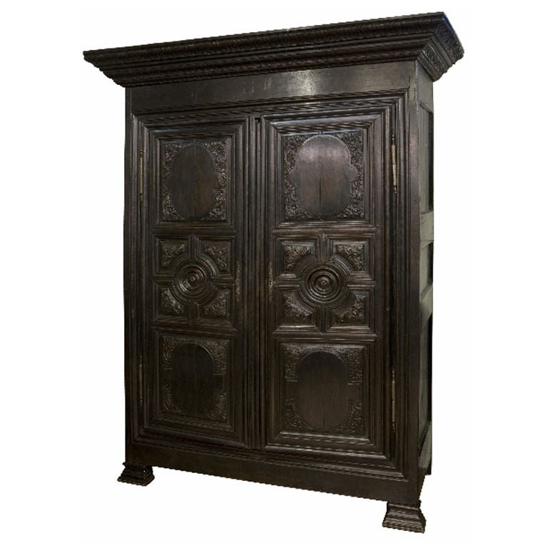 french chestnut renaissance style armoire at 1stdibs. Black Bedroom Furniture Sets. Home Design Ideas
