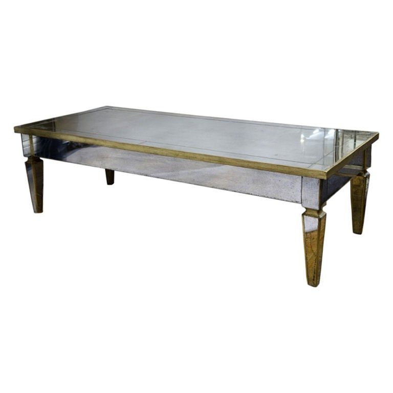 Mid Century Mirrored Coffee Table At 1stdibs