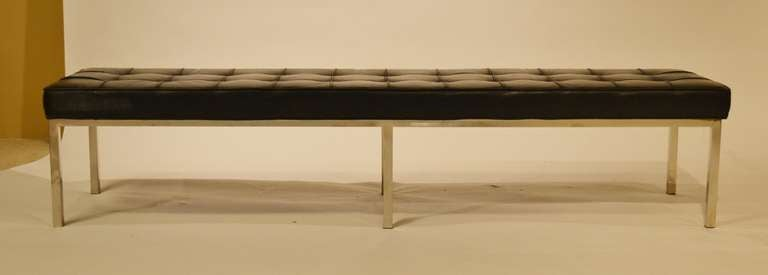 Mid Century Chrome And Leather Bench By Brueton At 1stdibs