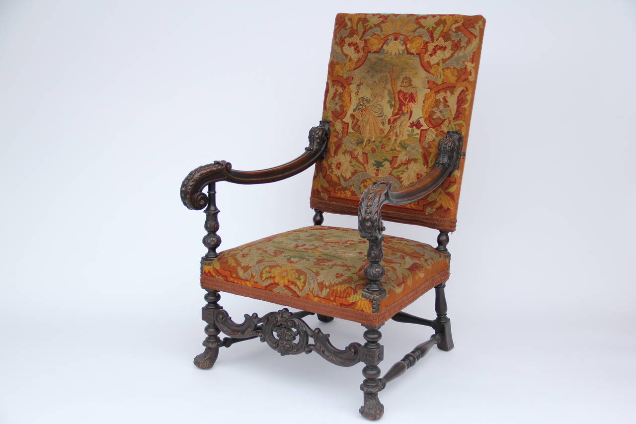 High back antique chairs - Antique Louis Xiv Style Carved Fauteuil High Back Armchair With Needlepoint 4