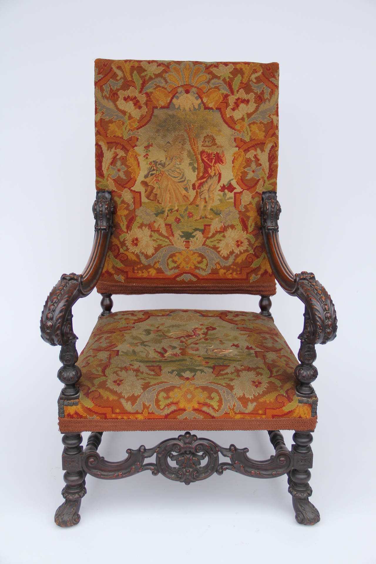 Antique Louis XIV Style Carved Fauteuil High Back Armchair with