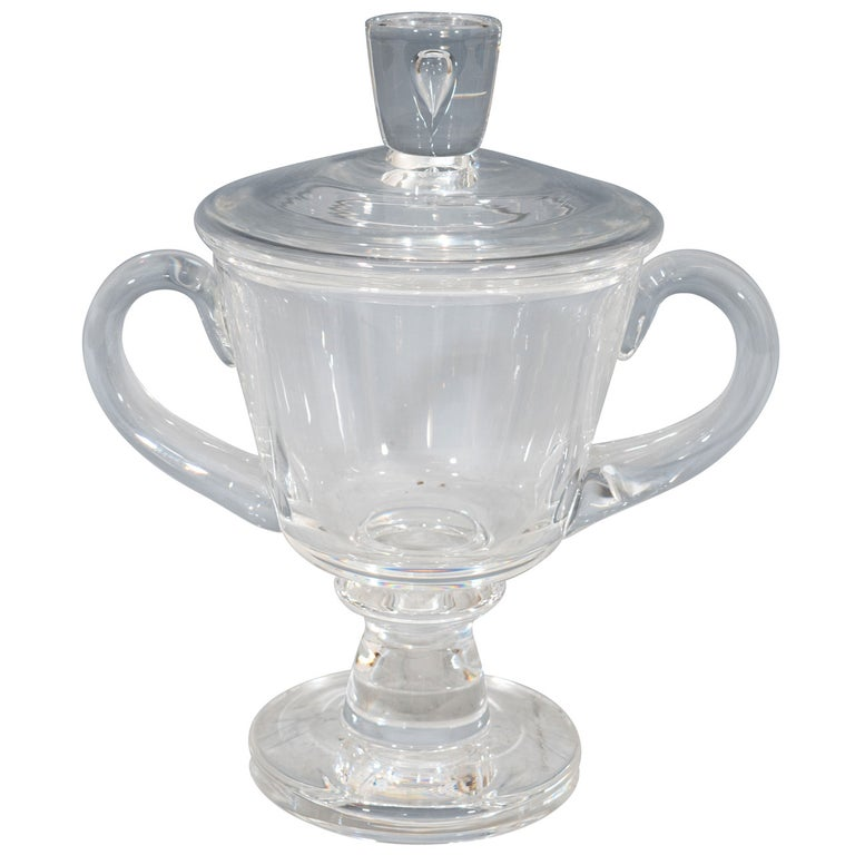 1930s Steuben Signed Glass Covered Candy Dish or Urn For Sale