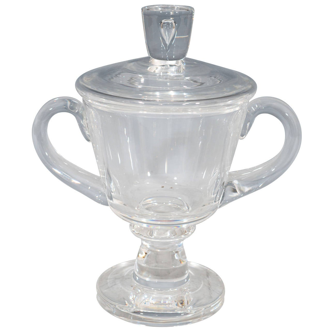 1930s Steuben Signed Glass Covered Candy Dish or Urn