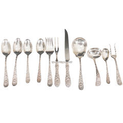 Stieff Co. Rose Pattern Dinner Service for 24 with 11 Service Pieces