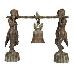 Antique Burmese Sculpture of Bell Ringers