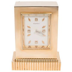 Art Deco Gold and Diamond Cartier Desk Clock