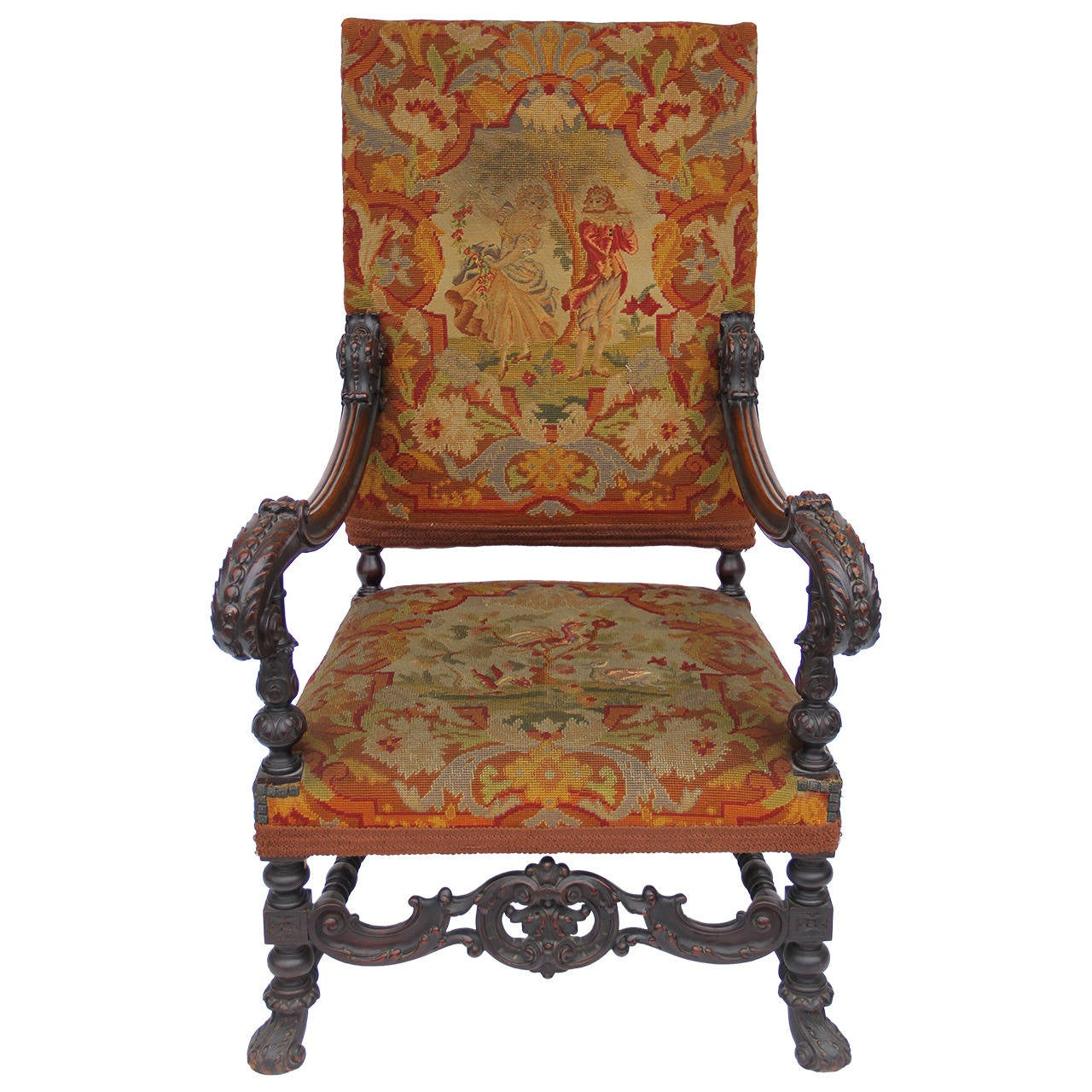 Antique Louis XIV Style Carved Fauteuil HighBack Armchair With - Fauteuil louis xiv