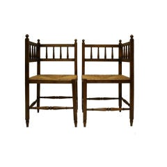 Pair Vintage French Country Walnut Corner Chairs from Brittany