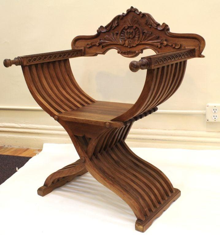 Pair Ornate Handcarved Teak Curule Chairs Image 4