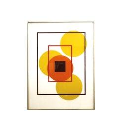 Mid Century Geometric Reverse Painted Silk Screen Painting