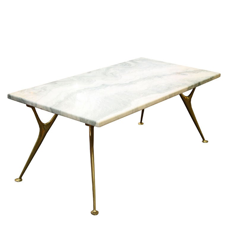 Italian Marble Coffee Or Cocktail Table For Sale At 1stdibs: Italian Mid Century Marble And Brass Table In The Style Of