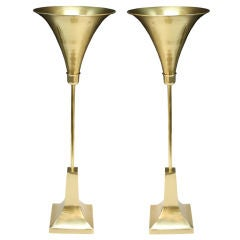 Pair of Mid Century Trumpet Form Brass Up-light Lamps by Sarreid