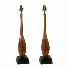 Pair of Mid Century Danish Modern Sculptural Walnut Table Lamps