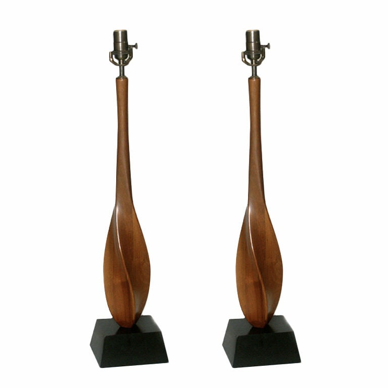 Pair of Mid Century Danish Modern Sculptural Walnut Table Lamps