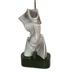 Cubist Sculptural 1940s Heifetz Ceramic Figure Lamp
