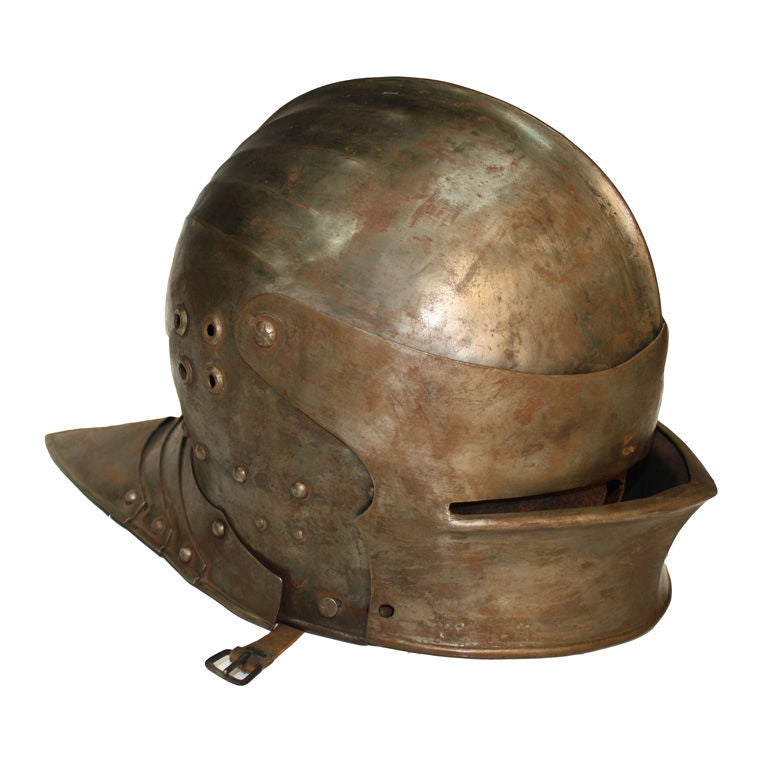 19th-20th Century Antique Italian Armor Steel Sallet Helmet
