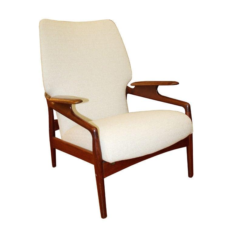 Mid century danish modern teak reclining armchair at 1stdibs for Mid century modern armchairs