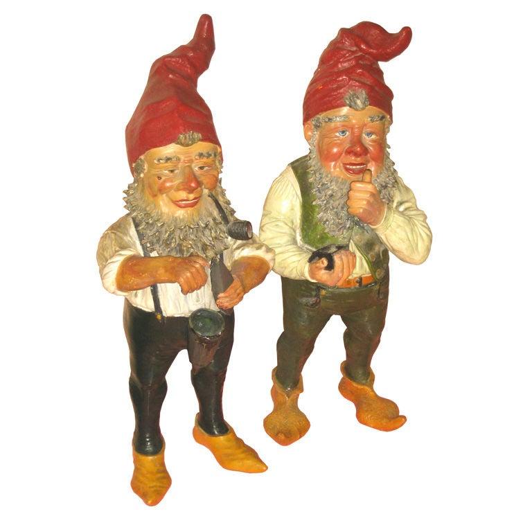 Pair Of Mid Century Terracota Garden Gnomes At 1stdibs