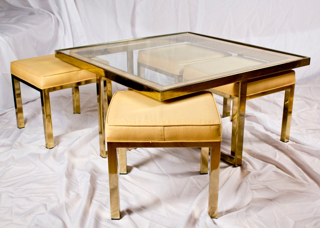 Mid Century Glass And Brass Coffee Table W Four Stools At 1stdibs