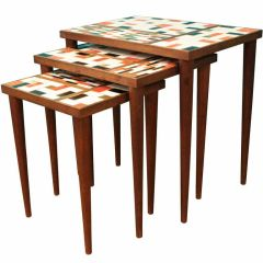 Set of Three Danish Modern Mid Century Tiled Nesting Tables
