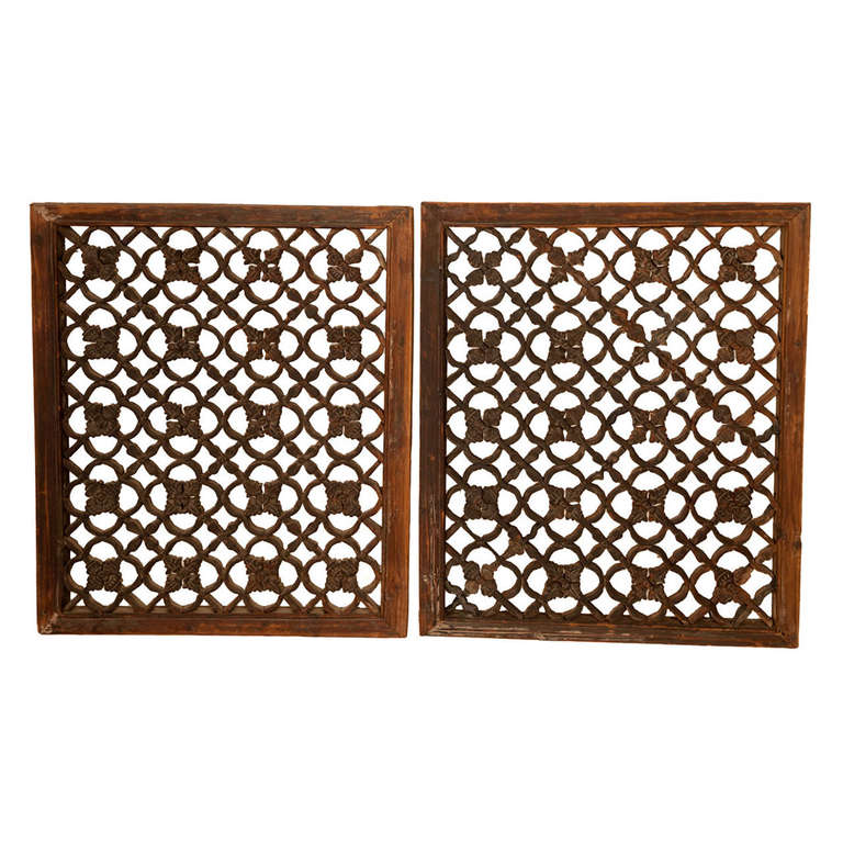 Carved Wooden Window Screens Set Of Two At 1stdibs